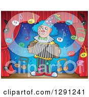 Clipart Of A Stage With Happy Music Note Characters And A Clown Playing An Accordion Royalty Free Vector Illustration