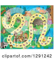 Clipart Of A Board Game Of Wild Animals And Scouts Camping Royalty Free Vector Illustration