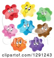 Clipart Of Happy Cartoon Colorful Blobs Royalty Free Vector Illustration by visekart