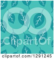Clipart Of A Seamless Background Pattern Of Teal Leaves On Turquoise Royalty Free Vector Illustration