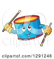 Clipart Of A Happy Cartoon Drum Character Holding Sticks Royalty Free Vector Illustration
