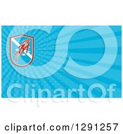 Clipart Of A Retro Scuba Diver And Blue Rays Background Or Business Card Design Royalty Free Illustration by patrimonio