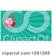 Clipart Of A Retro Photographer Using A Tripod And Turquoise Rays Background Or Business Card Design Royalty Free Illustration
