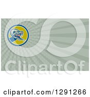 Clipart Of A Retro Viper Snake And Green Rays Background Or Business Card Design Royalty Free Illustration