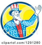Clipart Of A Retro American Uncle Sam Waving In A Blue White And Yellow Circle Royalty Free Vector Illustration