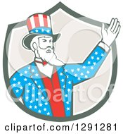 Clipart Of A Retro American Uncle Sam Waving In A Shield Royalty Free Vector Illustration by patrimonio