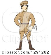 Clipart Of A Retro Cartoon World War One British Officer Holding A Sword Royalty Free Vector Illustration