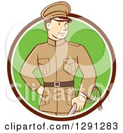 Clipart Of A Retro Cartoon World War One British Officer Holding A Sword And Emerging From A Brown White And Green Circle Royalty Free Vector Illustration