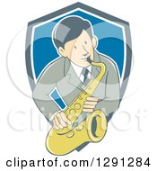 Retro Cartoon Male Musician Playing A Saxophone And Emerging From A Gray White And Blue Shield