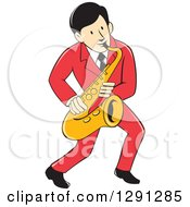 Retro Cartoon Male Musician Playing A Saxophone And Wearing A Red Suit