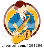 Clipart Of A Retro Cartoon Male Musician Playing A Saxophone And Emerging From A Maroon White And Yellow Circle Royalty Free Vector Illustration