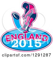 Clipart Of A Retro Rugby Union Player Kicking A Ball Ball In A Pink White And Blue England 2015 Oval Royalty Free Vector Illustration