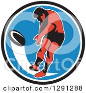 Clipart Of A Retro Rugby Union Player Kicking A Ball In A Black White And Blue Circle Royalty Free Vector Illustration