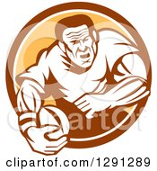 Clipart Of A Retro Rugby Union Player Running With A Ball In A Brown White And Orange Circle Royalty Free Vector Illustration
