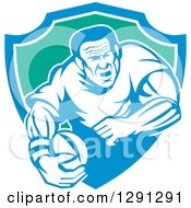 Clipart Of A Retro Rugby Union Player Running With A Ball In A Blue White And Green Shield Royalty Free Vector Illustration