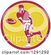 Clipart Of A Retro Rugby Union Player Passing A Ball In A Pink White And Yellow Royalty Free Vector Illustration