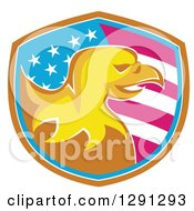 Clipart Of A Golden Bald Eagle Head In An American Flag Shield With Brown White And Blue Trim Royalty Free Vector Illustration