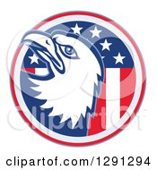 Clipart Of A Bald Eagle Head Emerging From An American Flag Circle Royalty Free Vector Illustration