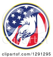 Clipart Of A Bald Eagle Head In A USA American Flag Circle Royalty Free Vector Illustration