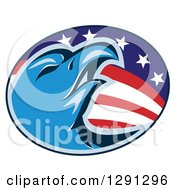 Clipart Of A Blue Bald Eagle Head In An American Flag Oval Royalty Free Vector Illustration