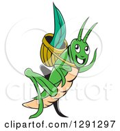 Clipart Of A Cartoon Happy Green Grasshopper Waving With A Blade In A Basket Royalty Free Vector Illustration