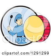 Clipart Of A Retro Cartoon Marching Band Drummer Man Emerging From A Black White And Blue Circle Royalty Free Vector Illustration by patrimonio