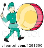 Clipart Of A Retro Cartoon Marching Band Drummer Man Royalty Free Vector Illustration by patrimonio