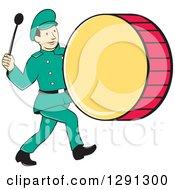 Retro Cartoon Marching Band Drummer Man