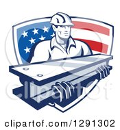 Clipart Of A Retro Male Construction Worker Carrying An I Beam And Emerging From An American Flag Shield Royalty Free Vector Illustration