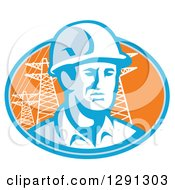 Clipart Of A Retro Male Construction Worker Emerging From An Orange And Blue Oval With Pylons Royalty Free Vector Illustration