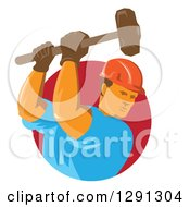 Clipart Of A Retro Male Construction Worker Using A Sledgehammer And Emerging From A Red Circle Royalty Free Vector Illustration