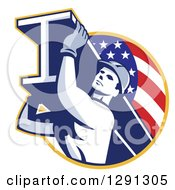 Clipart Of A Retro Male Construction Worker Carrying An I Beam And Emerging From An American Flag Circle Royalty Free Vector Illustration by patrimonio