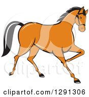 Clipart Of A Cartoon Trotting Cantering Brown Horse Royalty Free Vector Illustration