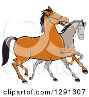 Clipart Of Two Cartoon Horses Prancing Royalty Free Vector Illustration