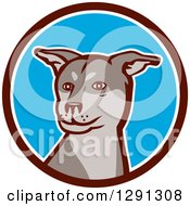 Clipart Of A Husky Shar Pei Mix Breed Dog In A Brown White And Blue Circle Royalty Free Vector Illustration by patrimonio
