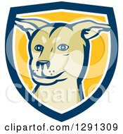 Clipart Of A Husky Shar Pei Mix Breed Dog In A Blue White And Yellow Shield Royalty Free Vector Illustration by patrimonio