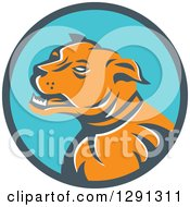 Clipart Of A Retro Aggressive Mastiff Dog In A Teal And Blue Circle Royalty Free Vector Illustration
