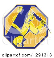 Clipart Of A Retro Power Lineman Electrician Worker Holding A Lightning Bolt In A Sunshine Octagon Royalty Free Vector Illustration by patrimonio