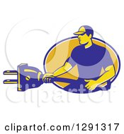 Clipart Of A Retro Male Electrician Holding A Giant Plug And Emerging From A Blue White And Yellow Oval Royalty Free Vector Illustration