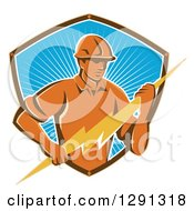 Clipart Of A Retro Male Electrician Holding A Lightning Bolt In A Brown White And Blue Sunshine Shield Royalty Free Vector Illustration