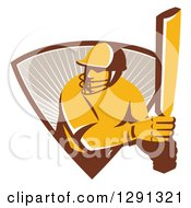 Clipart Of A Retro Cricket Batsman Player Emerging From A Triangle Of Rays Royalty Free Vector Illustration