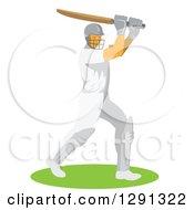 Clipart Of A Retro Cricket Batsman Player Royalty Free Vector Illustration