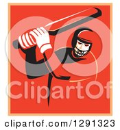 Clipart Of A Retro Cricket Batsman Player In A Red And Orange Square With A White Border Royalty Free Vector Illustration