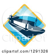 Clipart Of A Retro Container Cargo Ship Emerging From A Yellow And Blue Sunset And Ocean Diamond Royalty Free Vector Illustration by patrimonio