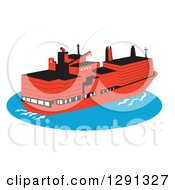 Retro Red Container Cargo Ship On Blue Ocean Water