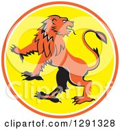 Clipart Of A Cartoon Griffin Rearing In An Orange White And Yellow Circle Royalty Free Vector Illustration by patrimonio