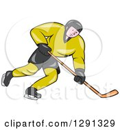 Clipart Of A Cartoon White Male Hockey Player Skating In A Green And Black Uniform Royalty Free Vector Illustration by patrimonio