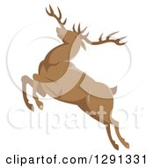 Clipart Of A Retro Leaping Elk Buck Royalty Free Vector Illustration