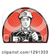 Clipart Of A Retro Male Police Officer Driving With Both Hands On The Steering Wheel In An Arch Of Red Sunshine Royalty Free Vector Illustration by patrimonio