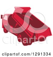 Clipart Of A Rear View Of A Red Toned Dump Truck Unloading Royalty Free Vector Illustration